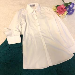 アオキ(AOKI)の白ワイシャツブラウスオフィス清楚系就活リクルートスーツ転職カラーシャツ白シャツ(シャツ/ブラウス(長袖/七分))