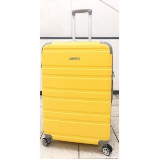 中型軽量スーツケース 8輪キャスター TSAロック付き Mサイズ イエロー(旅行用品)