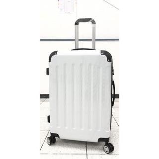 中型軽量スーツケース 8輪キャリーバッグ TSAロック付き Mサイズ 白(旅行用品)