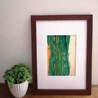 原画【癒し】抽象画 インテリア 絵画 手書き グリーン イエロー ホワイト(アート/写真)