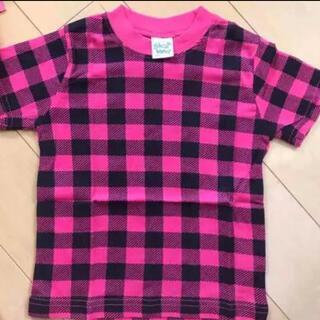 スキップランド(Skip Land)の新品未使用 スキップランド 半袖 ピンク チェック柄 Tシャツ 90(Tシャツ/カットソー)