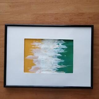 原画【癒し】抽象画 インテリア 絵画 手書き イエロー グリーン ホワイト(アート/写真)