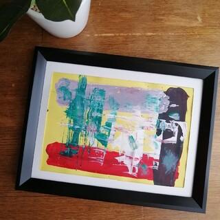 原画【安定】抽象画 インテリア 絵画 手書き イエロー グリーン ホワイト(アート/写真)