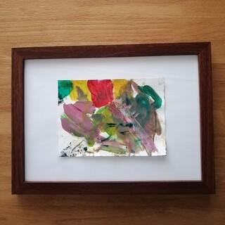 原画【フラワー】抽象画 インテリア 絵画 手書き イエロー グリーン(アート/写真)