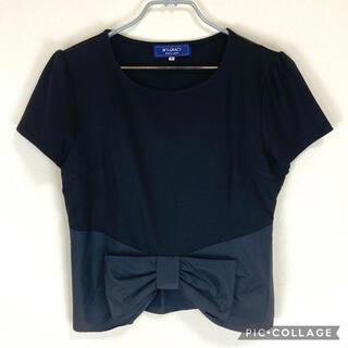 エムズグレイシー(M'S GRACY)の【美品】エムズグレイシーカットソー黒リボン付き(Tシャツ(半袖/袖なし))