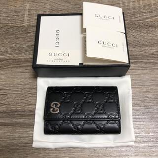 グッチ(Gucci)の美品 グッチ グッチシマ キーケース ブラック レザー ダブルG(キーケース)