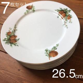 松の絵付け 中皿〜大皿 平皿 26.5cm 7枚セット レトロ(食器)