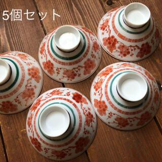 梅の絵付け お茶碗 5個セット レトロ(食器)