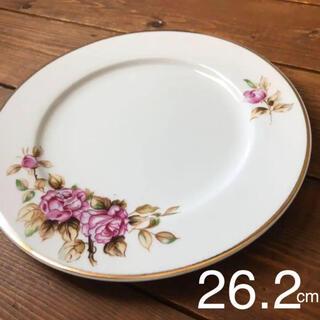 バラの絵付け 中皿〜大皿 平皿 26.2cm レトロ(食器)