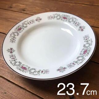 花の絵付け 中皿 深皿 23.7cm レトロ(食器)