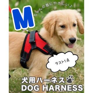 ★最安値★【Mサイズ】ハーネス 犬用品 レッド 赤 犬服 ペット服 簡単着脱(リード/首輪)