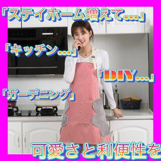 【レッド ストライプ】【新品】キッチン エプロン タオル 防水 耐油性 ポケット(その他)