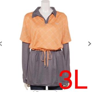 フィラ(FILA)の3L  新品未使用 UVアームカバー付きスキッパーチュニック  オレンジ(チュニック)
