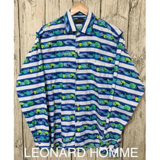 レオナール(LEONARD)のLEONARD HOMME メンズ 長袖シャツ 総柄 レオナールオム ボーダー(シャツ)