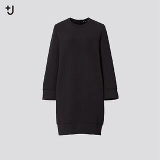 ユニクロ(UNIQLO)のUNIQLO×JILSANDER ドライスウェットワンピース 黒 長袖 +J(ひざ丈ワンピース)