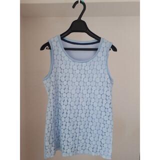 Lourdes ノースリーブ ライトブルー ドット リブ 水色(カットソー(半袖/袖なし))