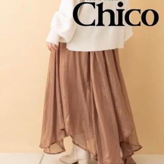 フーズフーチコ(who's who Chico)のChico 箔プリントフレアスカート(ロングスカート)
