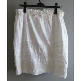 バナーバレット(Banner Barrett)のバナーバレット コットンひざ丈スカート ホワイト M 中古 訳あり(ひざ丈スカート)