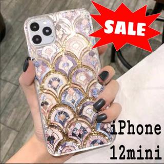 大理石 タイル風 モロッカン グリッター ケース iPhone12mini(iPhoneケース)