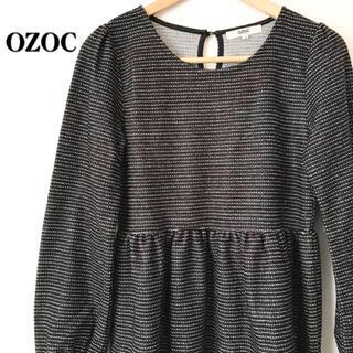 オゾック(OZOC)の【美品】OZOC オゾック ラメラインボーダーワンピース 長袖 ブラック 黒(ミニワンピース)