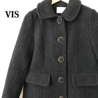 ヴィス(ViS)のVIS ヴィス スライバーニットコート Aライン コート ブラック 黒(ロングコート)