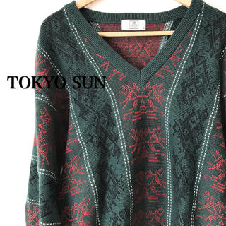 【美品】TOKYO SUN FOR MEN ニット セーター 長袖 グリーン 緑(ニット/セーター)