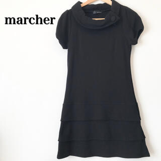 marcher マルシェ ニットワンピース チュニック 日本製 ブラック 黒(ミニワンピース)