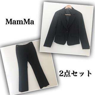 【美品】MamMa パンツスーツ ストライプ フォーマル ブラック 黒(スーツ)