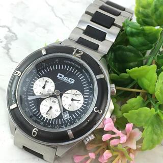 ドルチェアンドガッバーナ(DOLCE&GABBANA)の☆動作確認済☆D&G ドルチェ&ガッバーナ 時計 腕時計 シルバー メンズ 黒色(腕時計(アナログ))