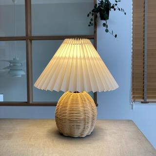 韓国 プリーツランプ テーブルランプ ラタン 照明 ビンテージ
