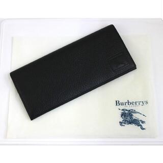 バーバリー(BURBERRY)のバーバリー 二つ折り 長財布 札入れ ノバチェック柄 レザー 黒 ブラック(折り財布)
