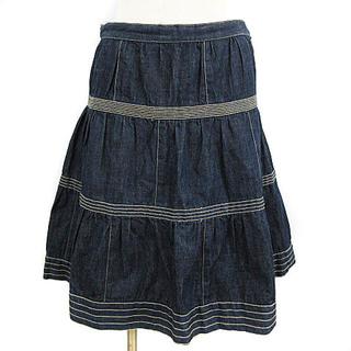 マークジェイコブス(MARC JACOBS)のマークジェイコブス デニム ひざ丈 スカート ギャザー フレア ブルー 2(ひざ丈スカート)