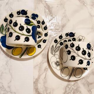 アラビア(ARABIA)の【新品未使用品】アラビア パラティッシ コーヒーカップ&ソーサー 2色ペア(食器)