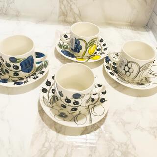 アラビア(ARABIA)の【新品未使用品】アラビア パラティッシ コーヒーカップ&ソーサー 2色4客(食器)