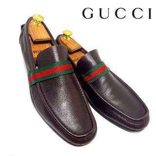 Gucci - GUCCI グッチ 40 1/2 シェリーライン シンプルローファー 濃茶