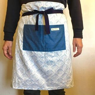 ハンドメイド☆Grembiule 60cm丈ギャルソンエプロン(12)☆送料無料(キッチン小物)
