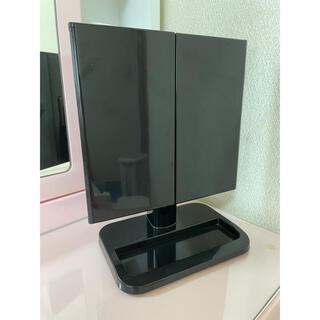 ヤマゼン(山善)の 卓上 三面鏡 コンパクト 収納スペース ブラック(卓上ミラー)