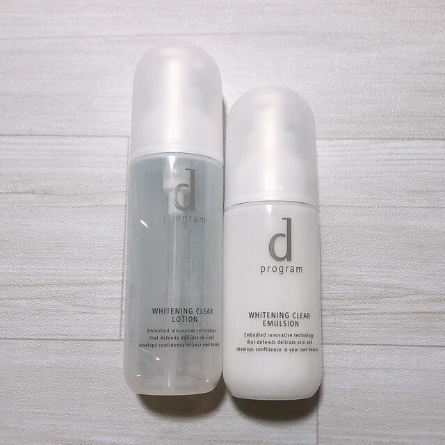 d program(ディープログラム)のd プログラム ホワイトニングクリア 化粧水 乳液2個セット  サンプル付き コスメ/美容のスキンケア/基礎化粧品(化粧水/ローション)の商品写真
