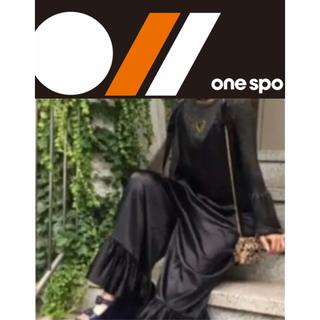 ワンスポ(one spo)のサテンフリルサロぺ オーバーオール ワンピース ドレス ショルダーサイズ調整(オールインワン)