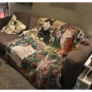 かわいい猫 ブランケット ひざ掛け ソファーカバー ラグ カーペット 綿(毛布)