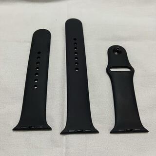 アップル(Apple)のApple Watch 44mm 42mm 純正スポーツバンド ブラック 中古(ラバーベルト)