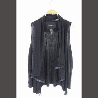 ダブルスタンダードクロージング(DOUBLE STANDARD CLOTHING)のダブルスタンダードクロージング フェイクレザー切替ベスト ノーボタン F 黒(ベスト/ジレ)