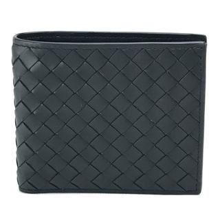 ボッテガヴェネタ(Bottega Veneta)の美品 ボッテガヴェネタ イントレチャート 2つ折り財布 レザー メンズ ブラック(折り財布)