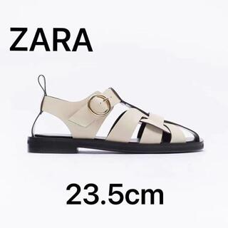 ZARA - 【37】新品タグ付きZARA レザーフラットケージサンダル