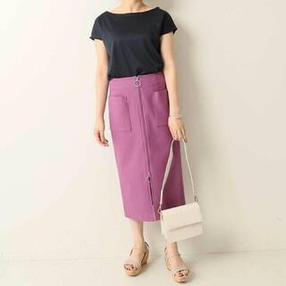 ノーブル(Noble)のノーブル  ジップアップスカート パープル(ひざ丈スカート)