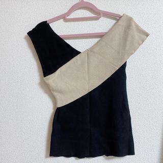 アンドクチュール(And Couture)のAndCouture  配色ワンショルプルオーバー(ニット/セーター)