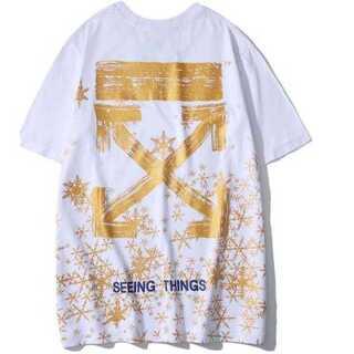 ゴールド メンズ Tシャツ 白 ホワイト オフホワイト レディース ペアルック(Tシャツ/カットソー(半袖/袖なし))