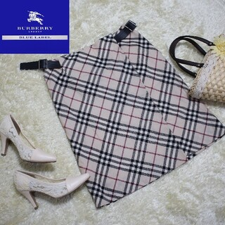 バーバリー(BURBERRY)のバーバリーロンドン ノバチェック Lサイズ レザー 三陽商会 プリーツスカート(ひざ丈スカート)