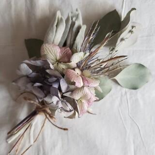 ドライフラワー 紫陽花とラムズイヤーのスワッグ(ドライフラワー)