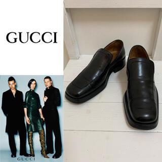 グッチ(Gucci)のGUCCI VINTAGE ITALY製 レザーローファー レザースリッポン(スリッポン/モカシン)